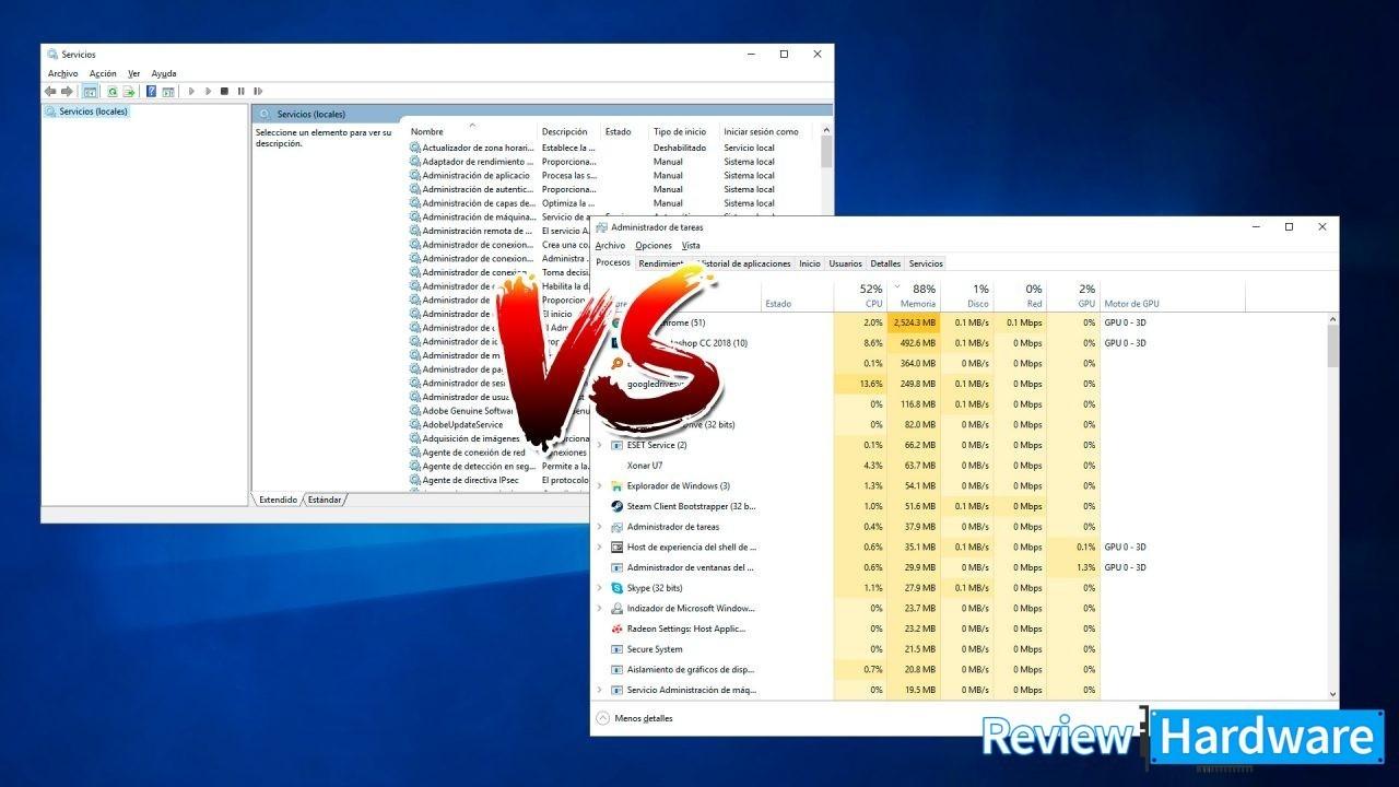 Qué diferencia hay entre procesos y servicios en Windows