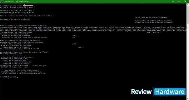 ejecutar un chkdsk en simbolos del sistema como administrador