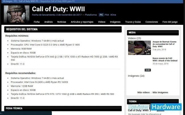 requisitos del sistema de call of duty World War II